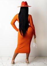 Sexy Solid Ribbed V Neck Full Sleeve Slim Long Dress APLF-5085