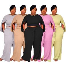 Plus Size Fat MM Solid Split Sleeve Two Piece Pants Set YS-8824