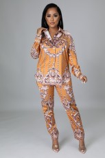 Casual Printed Blouse Top And Pants Two Piece Sets YYF-6616