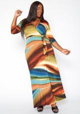 Plus Size Sexy Printed V Neck Sashes Maxi Dress YIDF-81340