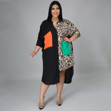 Plus Size Printed Patchwork Pocket Loose Irregular Shirt Dress NNWF-7256
