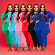 Plus Size Pink Letter Print V Neck Long Sleeve 2 Piece Sets WAF-77263