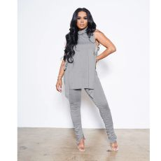 Sexy Solid Sleeveless Stacked Pants Two Piece Sets IV-8247