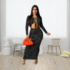 Sexy Printed Lace-Up Hollow Out Maxi Dress ZFF-57819