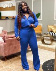 Plus Size Casual Solid Long Sleeve Zipper 2 Piece Pants Set WUM-21821