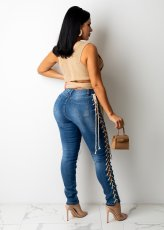 Denim Lace-Up Mid-Waist Skinny Jeans Pants LA-3287