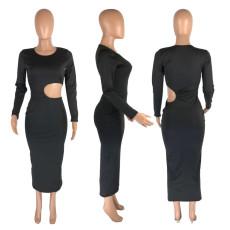 Black Long Sleeve Hollow Out Maxi Dress MNSF-8218