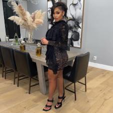 Black Ruffle Lace Long Sleeve Sexy Night Club Dress TE-4327
