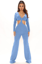 Solid Sexy Hollow Out Long Sleeve Jumpsuit LDS-3291