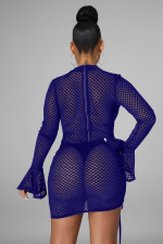 Sexy Grid Hollow Flare Sleeve Drawstring Club Dress LA-3279