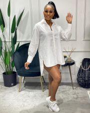 White Long Sleeve Irregular Shirt Dress SXF-22117