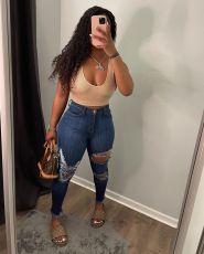 Plus Size Denim Ripped Hole Skinny Jeans Pants OD-8458