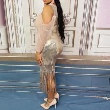 Sexy Mesh Sequin Off Shoulder Tassel Night Club Dress CYA-1680