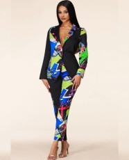 Casual Printed Blazer Coat And Pants 2 Piece Suits YHDF-60055