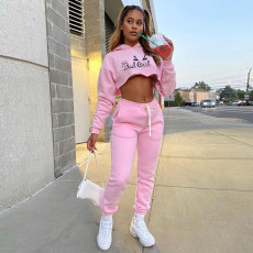 Casual Printed Hooded Crop Top And Pants 2 Piece Sets YNB-7221