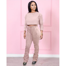 Casual Solid Long Sleeve Stacked Pants 2 Piece Sets MDF-5260