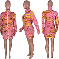 Casual Printed Long Sleeve Zipper Mini Dress MUM-8025