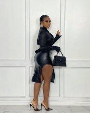 PU Leather Sexy Split Midi Skirt BS-1287