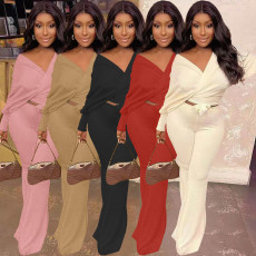 Casual Solid V Neck Long Sleeve 2 Piece Pants Set MNKF-8029