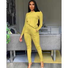Solid Ribbed Long Sleeve Two Piece Pants Set FOSF-8103