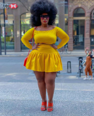 Plus Size Solid Long Sleeve Crop Top Pleated Mini Skirt 2 Piece Sets HEJ-Y6088