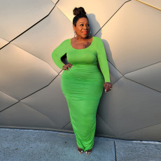 Plus Size Solid Long Sleeve Ruched Midi Dress HEJ-S6077