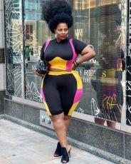 Plus Size Color Splice Short Sleeve 2 Piece Shorts Set HEJ-Y6059