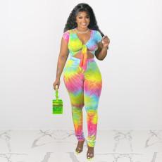 Plus Size Tie Dye Short Sleeve 2 Piece Pants Set HEJ-Y6064