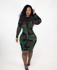 Sexy Printed Mesh Patchwork Long Sleeve Dress LM-8284
