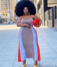 Plus Size Sleeveless Sling Long Dress HEJ-Y6069