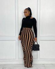 Striped High Waist Tassel Long Skirt APLF-5086-0