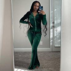 Solid Velvet Long Sleeve Zipper Top Flare Pants 2 Piece Suits MA-Y448