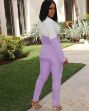 Casual Mesh Patchwork Blazer+Split Pants 2 Piece Suits LFDF-70025