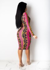 Plus Size Sexy Printed Long Sleeve Midi Dress BYMF-60083