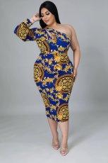 Plus Size Sexy Printed One Shoulder Midi Dress OM-1272
