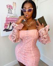 Sexy Lace Off Shoulder Long Sleeve Mini Dress XMEF-X1050