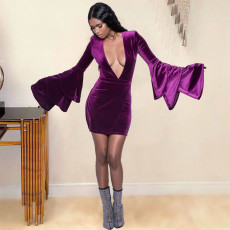 Sexy Velvet Deep V Neck Flare Sleeve Mini Dress MDF-5261