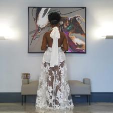 White Sexy Halter Deep V Party Cullottes Long Dress YA-9241