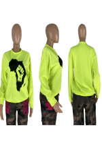Map Print Long Sleeve O Neck Pullover Top NYMF-X001