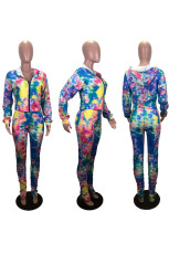 Tie Dye Print Hooded Hole Two Piece Pants Set NYMF-NY1006