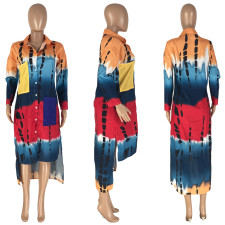 Plus Size Printed Full Sleeve Irregular Loose Shirt Dress NYMF-CL237