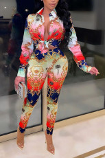 Casual Printed Blouse And Pants 2 Piece Suits NYMF-CL245