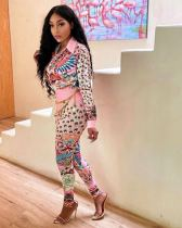Casual Printed Long Sleeve Two Piece Pants Set CM-2156