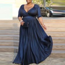 Plus Size Sexy V Neck Half Sleeve Maxi Evening Dress CYA-1678