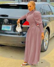Solid Long Sleeve Slim Waist Maxi Dress MAE-2124