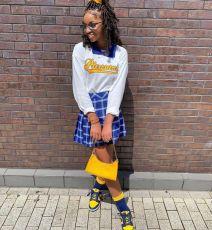 Casual Long Sleeve Top+Plaid Pleated Mini Skirt 2 Piece Sets SXF-29131