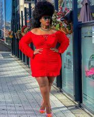 Plus Size Red Off Shoulder Ruffle Mini Dress TMF-80069