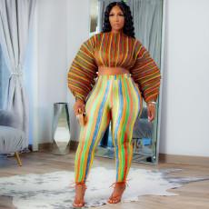 Plus Size Stripe Print Long Sleeve 2 Piece Pants Set SZF-8186