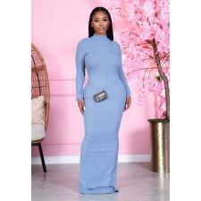 Solid Sexy Backless Long Sleeve Maxi Dress BN-9303