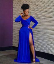 Blue V Neck Long Sleeve High Split Maxi Evening Dress LSL-6474